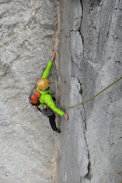 Rock Climbing Photo: Lucie just past the crux of the outstanding second...