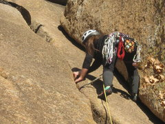 Rock Climbing Photo: Climber at first pitch's 5.5 section.