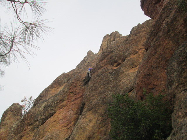 Martha climbing the route as seen from the trail.