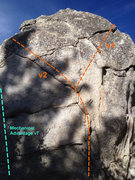 Rock Climbing Photo: This problem is the v2 that goes left at the top.
