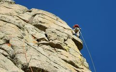 Rock Climbing Photo: George leads the spectacular finish on the last pi...