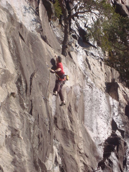 Moving through the crux section.