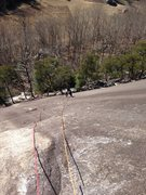 Rock Climbing Photo: Looking down the first pitch of Yardam. Runout unt...