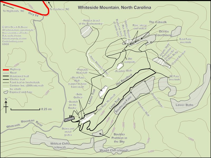 To the best of my knowledge, complete beta for the available ice climbing at Whiteside Mountain, NC.  Feel free to contact me with additions/corrections.