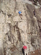Rock Climbing Photo: Heading into the business of Quickdraw. Climber to...
