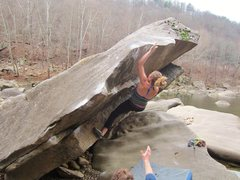 Rock Climbing Photo: Caitlin on an Unnamed (I think) problem. V1/2? Nee...