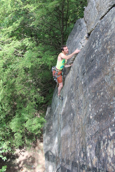 Johnny on The Entertainer 5.10a at Junkyard Wall.