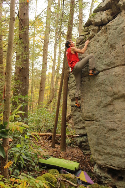 Johnny on a problem at the Nallen end of the Meadow - north side.