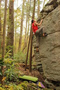 Rock Climbing Photo: Johnny on a problem at the Nallen end of the Meado...