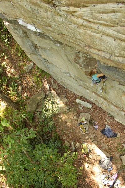 Rock Climbing Photo: Rachel on Betty Bravo 5.11c at Mud Hueco. Photo: R...