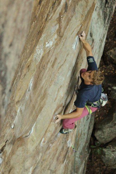 Rock Climbing Photo: Landon on Meadowbolic 5.11b at Mud Hueco. Photo: R...