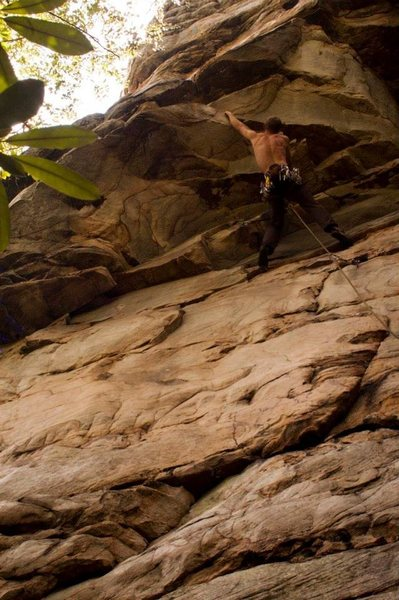 Louis on an unnamed 5.11 at South Park on the Meadow River.