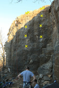 Rock Climbing Photo: Right to left: Diedral Crack Unkown Rabbits on Aci...