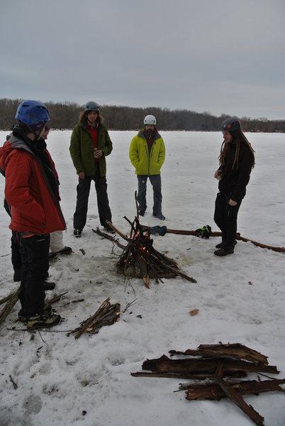 1-12-14 Lone Rock river ice impromptu social.