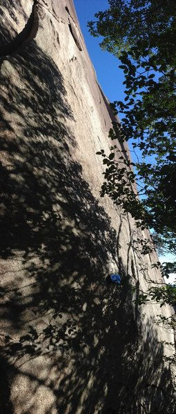 Climbs up the darker section of granite right of the lighter sections of rock. Photo gives you an idea as to the steepness of the route.