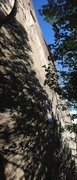 Rock Climbing Photo: Climbs up the darker section of granite right of t...