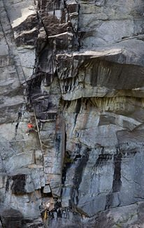 A picture of us climbing the second(crux)pitch.