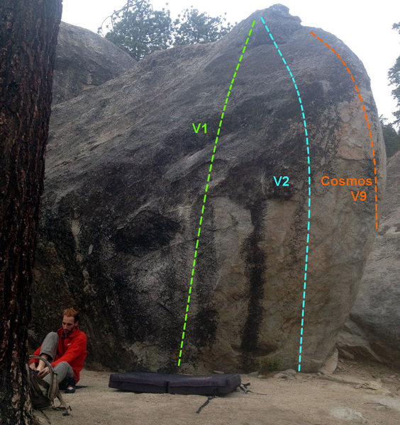 Some routes on the road side of the G boulder.