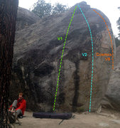 Rock Climbing Photo: Some routes on the road side of the G boulder.