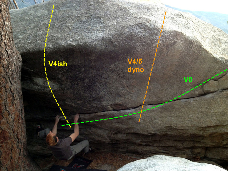 """Powers Boulder Right Side. The Unnamed """"V5"""" is the leftmost route"""