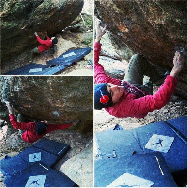 In the picture, I'm one move in. The proper start is matched on the right super chalked hold. It really isn't bad. Fun problem with a big move, sharp crimps, and a cool drive by. <br> <br> www.olmecapparel.com<br> @olmecapparel<br> @cvalencia31