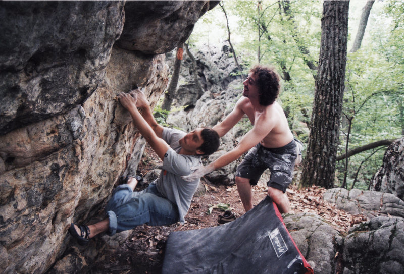 Matt Finet attempting a classic moderate (V2?) during one of his first times climbing.  He had a good bit of natural talent and strength for bouldering.  Matt was my best friend during my time at University Park.