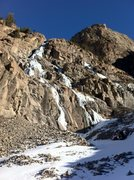 January 15, 2014. Sunny all day; warm at 39F. Some dry tooling and scrambling up to avoid thin ice.