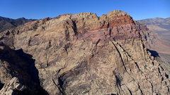 Rock Climbing Photo: Rainbow Mountain (including Solar Slab area) from ...