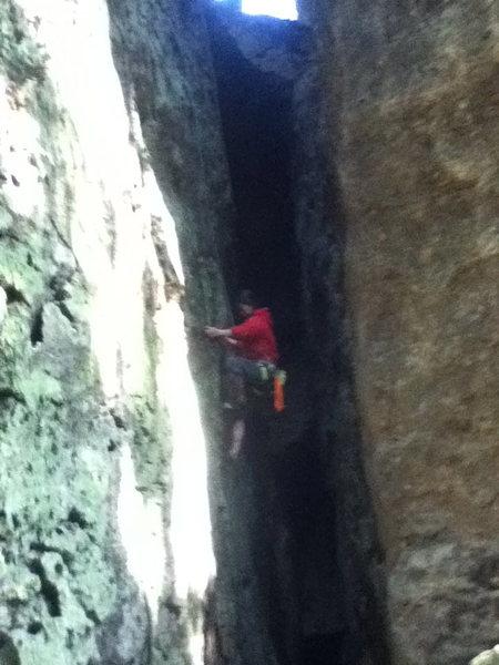 Rock Climbing Photo: Chimney climb by Daisy's wall