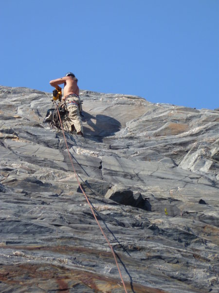 Putting up the first route at The Sunny Side in Valdez Alaska<br>