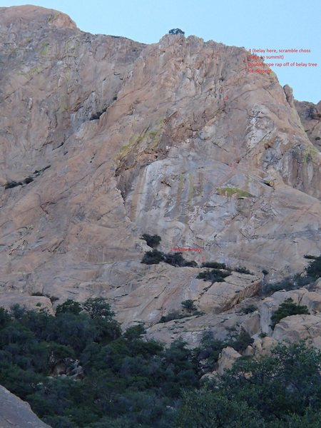 Rock Climbing Photo: Photo topo of the route with belay stations and de...