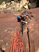 Rock Climbing Photo: Dave at the the top of the second pitch, having pu...