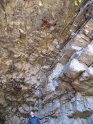 Connie on belay, Mike trying to keep that fluffy core tight.