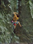 Rock Climbing Photo: Trying to finesse along the atrociously slopey edg...