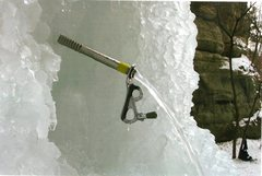 Rock Climbing Photo: Water leaks out of an old style screw placement ye...