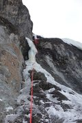 Rock Climbing Photo: Looking at the pillar-pitch of the Demon at the to...