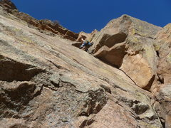 Rock Climbing Photo: On the second pitch after the crux.