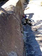 Rock Climbing Photo: Halfway rest flake/jug after a marginal route star...