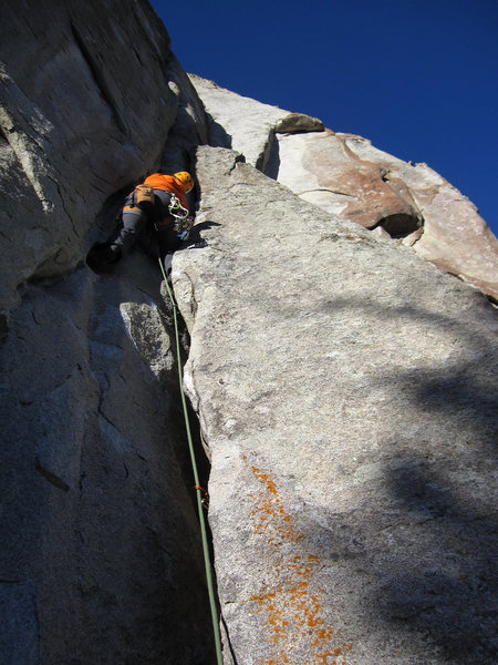 Rock Climbing Photo: Andy on the fists and stem portion of Shut Up & Sc...