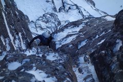 Rock Climbing Photo: Exiting the Quartz Chimney of pitch 3. The hardest...