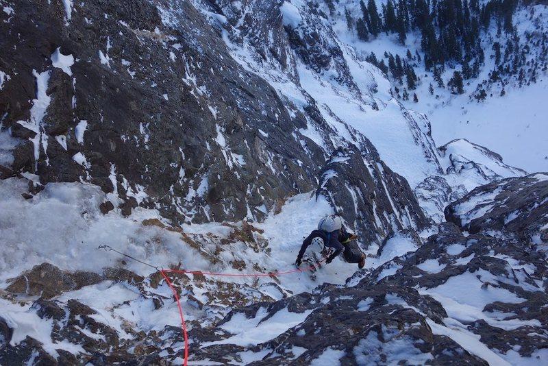 Rock Climbing Photo: Final feet of P3.