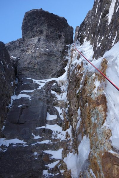 Rock Climbing Photo: A view of the upper half of P4 while on rappel.