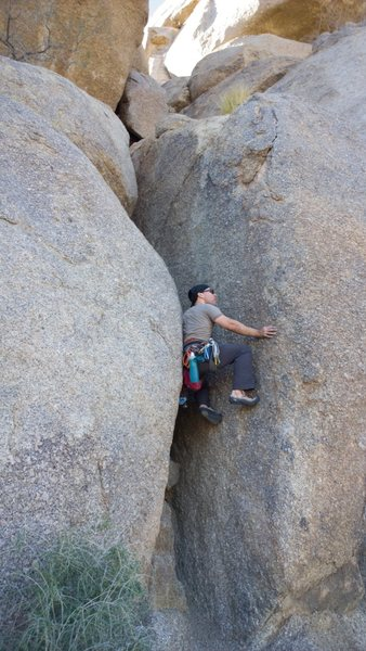 Rock Climbing Photo: The scramble up the first pitch of south crack.  I...