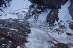 Rock Climbing Photo: A view down from mid-way on P4. The belay is visib...