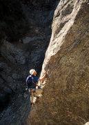 Rock Climbing Photo: Roland Geyer climbs through the lengthy crux seque...