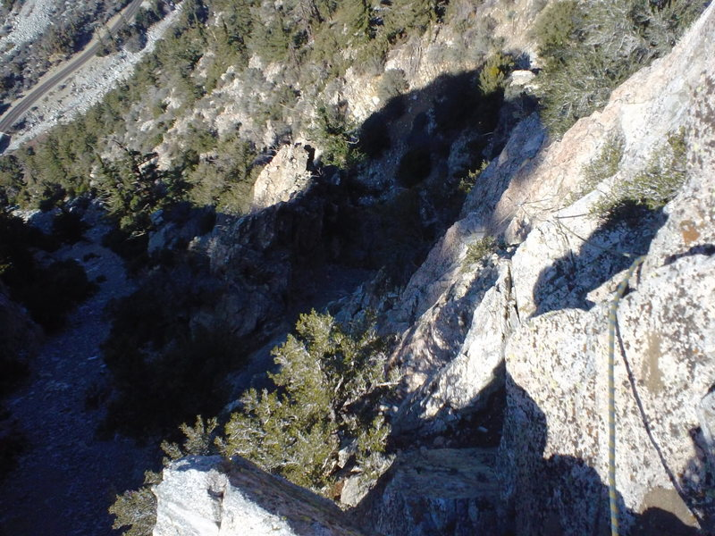 Rock Climbing Photo: Looking down the lower angle section of P1