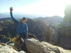 Rock Climbing Photo: Topping out R-1, Windy Point, Tucson, AZ.