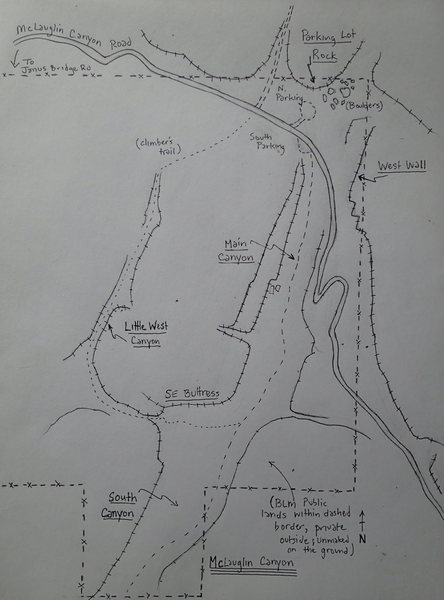 Overview map of the BLM/public lands - Main and South Canyon