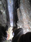 Rock Climbing Photo: Standing atop the chock stone