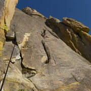 Rock Climbing Photo: Mike Arechiga on new fun 5.7 Dr. No at the Gold Fi...